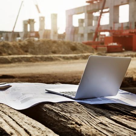 under control: Construction Career Structure Inspector Concrete Concept Stock Photo