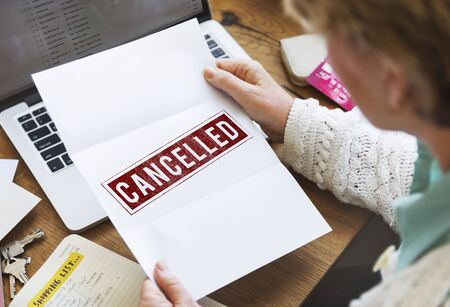 cancelled: Delayed Banned Cancelled Denied Stamp Label Mark Concept