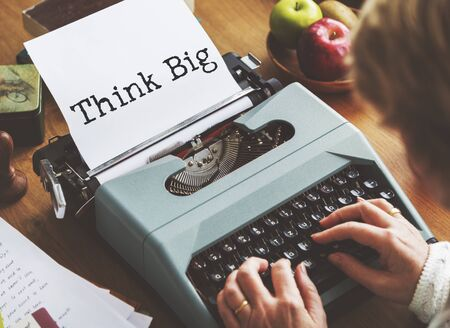 think big: Think Big Aspiration Attitude Concept Stock Photo