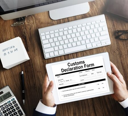 declaration: Customs Declaration Form Invoice Freight Parcel Concept Stock Photo
