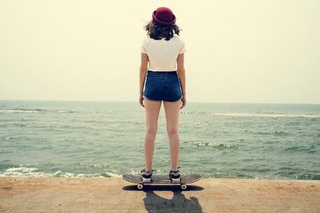 recreational pursuit: Skateboard Recreational Pursuit Summer Beach Holiday Concept