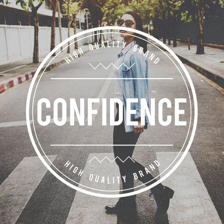 self assurance: Confidence Faith Self Trust Power Ability Belief Concept Stock Photo