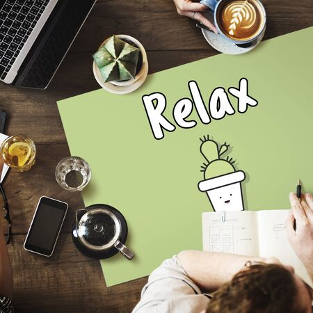 strategize: Business and relax graphic concept