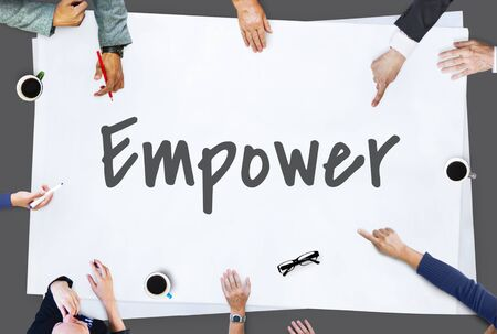 core strategy: Empower Business Work Mission Concept Stock Photo