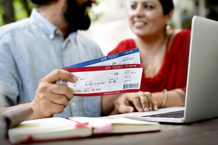 Indian Couple Planning Trip Concept Stock Photo