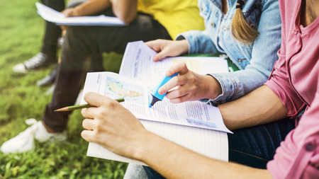 Young Diverse Group Studying Outdoors Concept Stock Photo