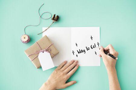 self assurance: Celebration Card Writing Concept Stock Photo