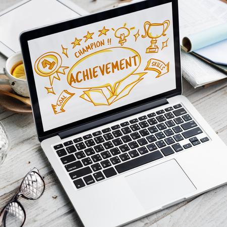 laptop outside: Success Achievement Victory Outside Box Sketch Concept
