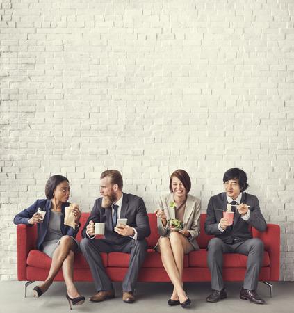 Zakelijke Team Working Break Eating Lunch Concept Stockfoto