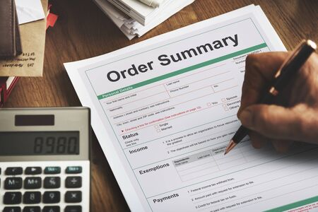 purchase order: Order Summary Payslip Purchase Order Form Concept