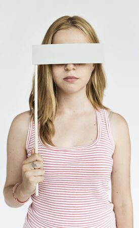 gesticulation: Young Woman Covering Eyes Concept