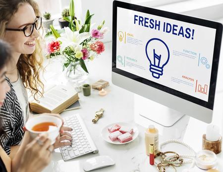 Fresh ideas concept on computer screen Stock Photo