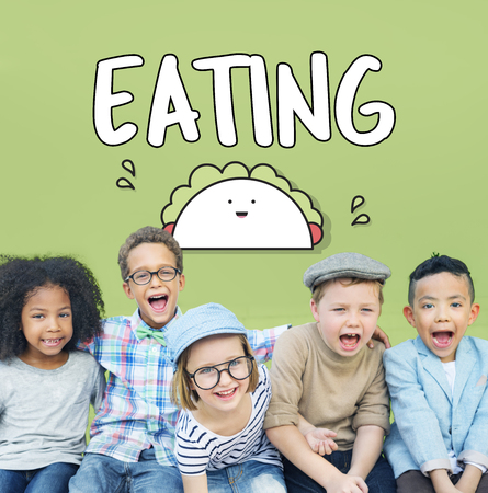 Eating concept with group of children