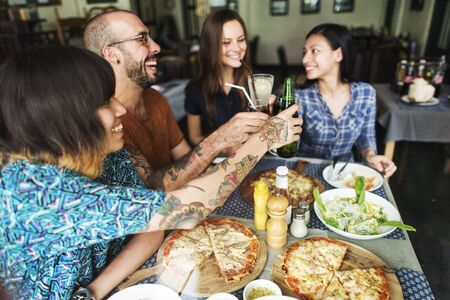 Friends Eating Pizza Party Together Concept Stock Photo