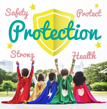 Protection concept with group of children in superheroes costume Stock Photo