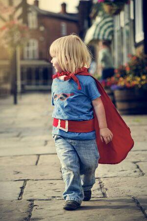 Superhero Little Boy Imagination Freedom Happiness Concept Stock Photo