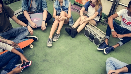 active adult community: Friends Hipster Teenager Buddies Concept
