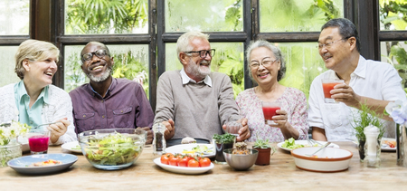 Senior Group Relax Lifestyle Dining Concept Stock Photo