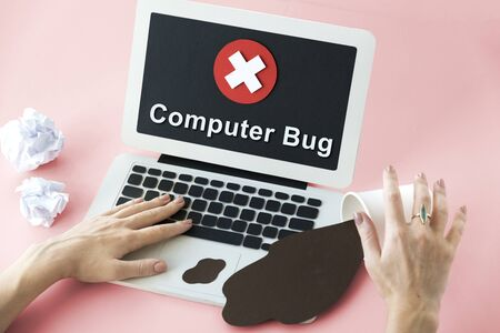 messed up: Unsecured Unavailable Spyware Crash Denied Concept Stock Photo