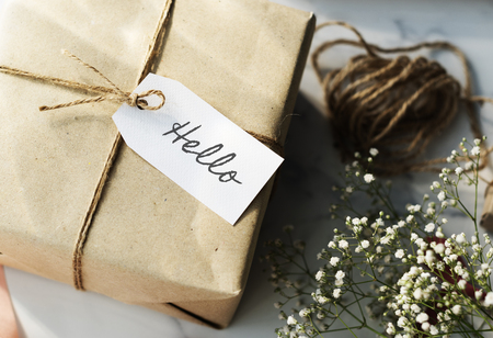 Hello concept with a gift