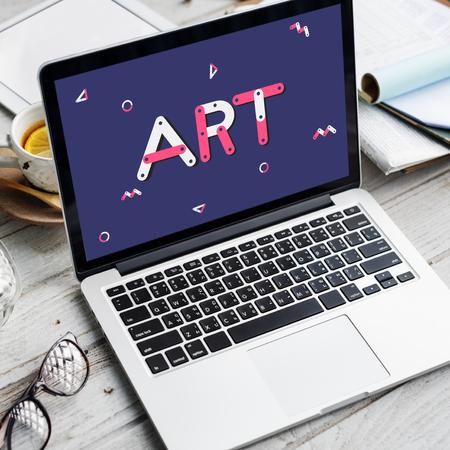 Art concept on laptop screen Stock Photo