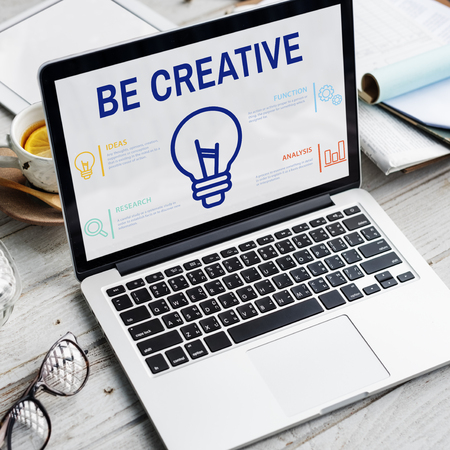 Be creative concept on laptop screen Stock Photo