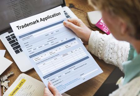 trademark: Trademark Application Document Form Concept Stock Photo
