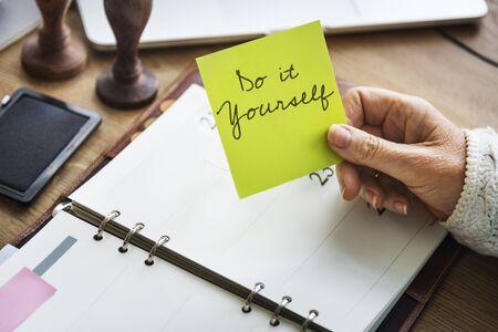 optimismo: Be Yourself Aspiration Believe Hopeful Optimism Concept Foto de archivo