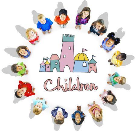 Children Enjoy Castle Joyful Concept Stock Photo