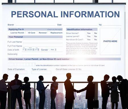 identidad personal: Información Personal Appilcation Identidad Concepto privada Foto de archivo