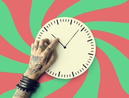 punctual: Tattoo Time Schedule Duration Punctual Second Concept Foto de archivo