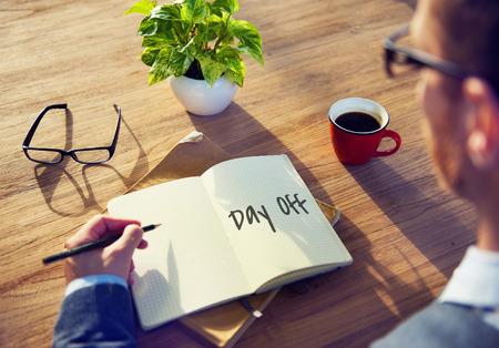 Day Off jaarlijkse vakantie Ontspanning Vakantie Concept Stockfoto