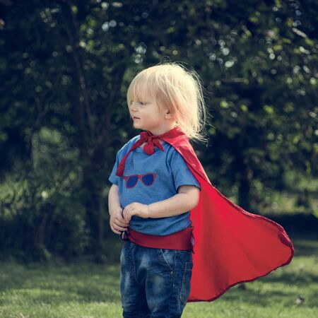 Superhero Little Boy Imagination Freedom Happiness Concept Stock Photo