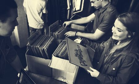 oldschool: Vinyl Record Store Music Shopping Oldschool Classic Concept