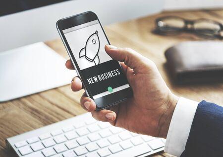 smart goals: Business Rocket Ship Icon Graphic Concept