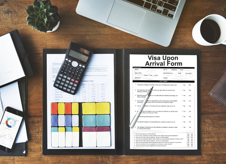 File with visa upon arrival form Stock Photo
