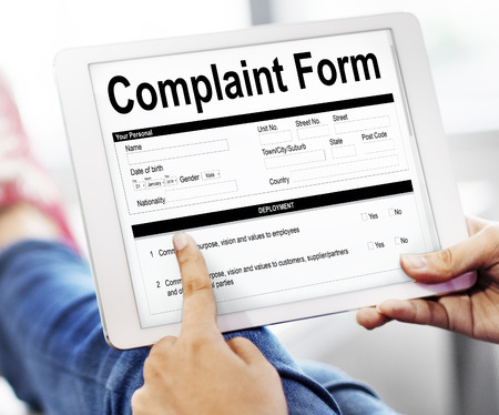 Tablet with complaint form