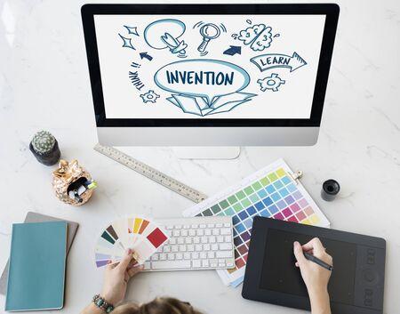 outside the box: Ideas Outside Box Brainstorm Sketch Concept Stock Photo