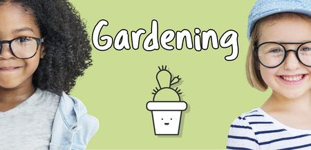 Children with gardening concept