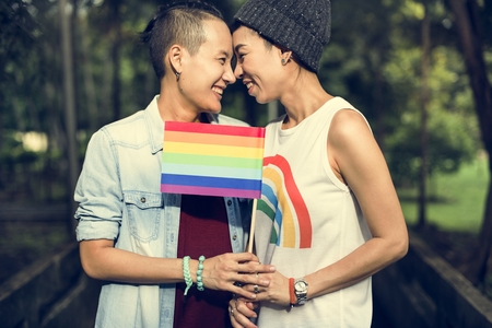 LGBT Lesbisch Paar Moments Happiness Concept Stockfoto