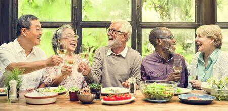 meet: Group of Senior Retirement Meet up Happiness Concept Stock Photo