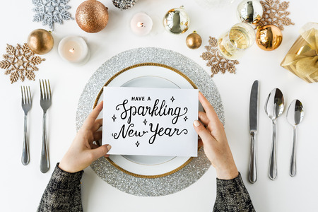 Sparkling new years phrase word