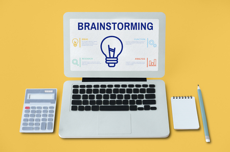 Laptop with brainstorming concept Stock Photo