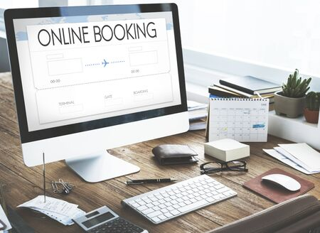 place of work: Booking Ticket Air Online Travel Trip Vacation Concept Stock Photo