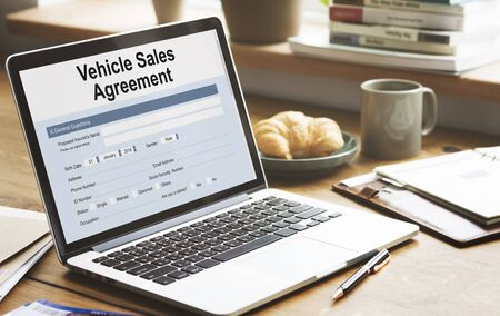 technology agreement: Vehicle Sales Agreement Form Concept Stock Photo
