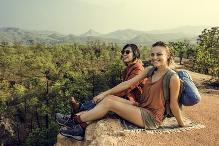 Backpacker Couple Travel Adventure Happiness Concept Stock Photo