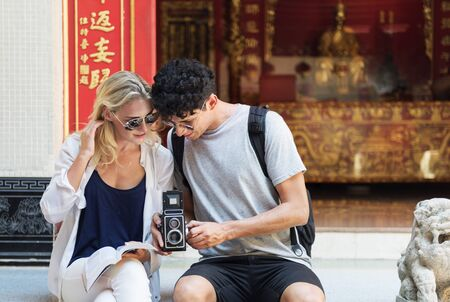Trave Trip  Vacation Camera Photo Memory Couple Concept Stock Photo