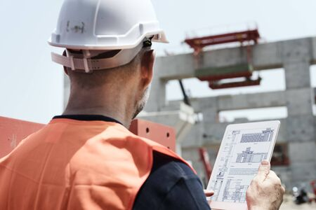 safety first: Architecture Construction Safety First Career Concept Stock Photo