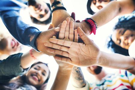 Studenten Teamwork Stacking Hand Concept