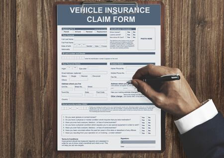 Vehicle Insurance Claim Form Benefit Concept
